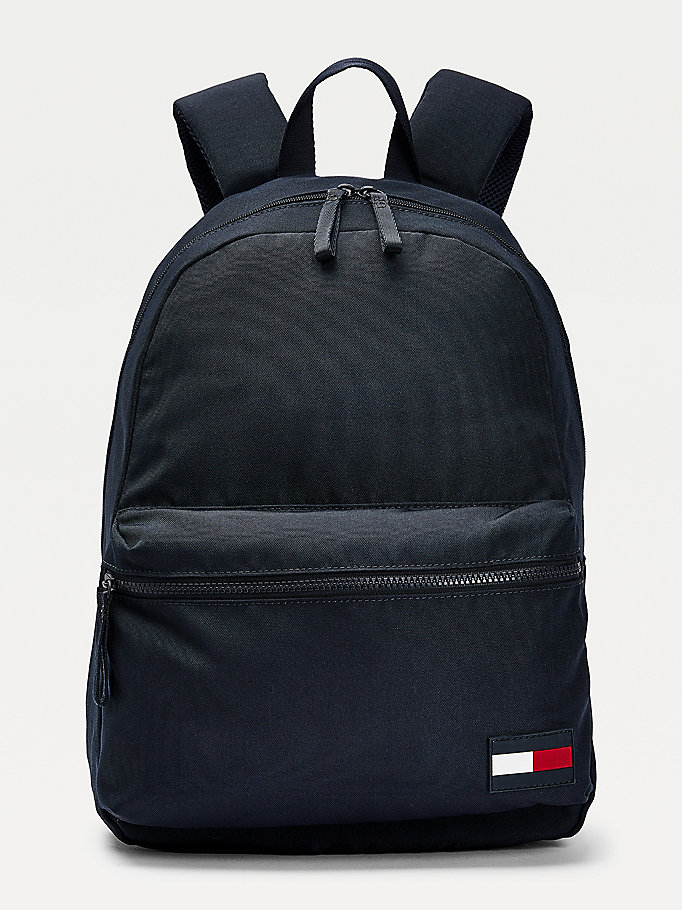 blue recycled polyester flag patch backpack for men tommy hilfiger