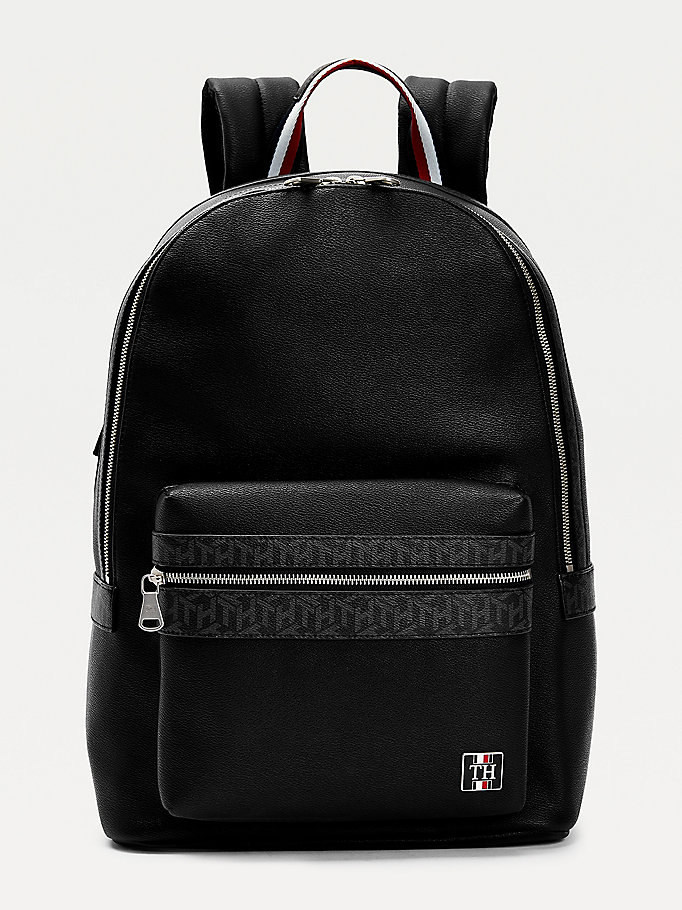 black th monogram signature handle backpack for men tommy hilfiger