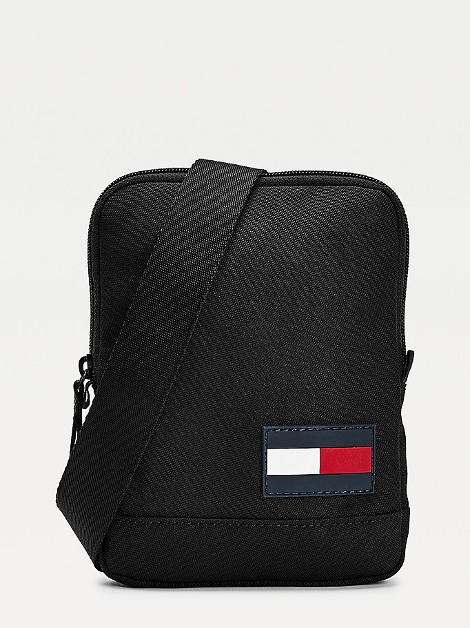 black recycled polyester flag crossover bag for men tommy hilfiger