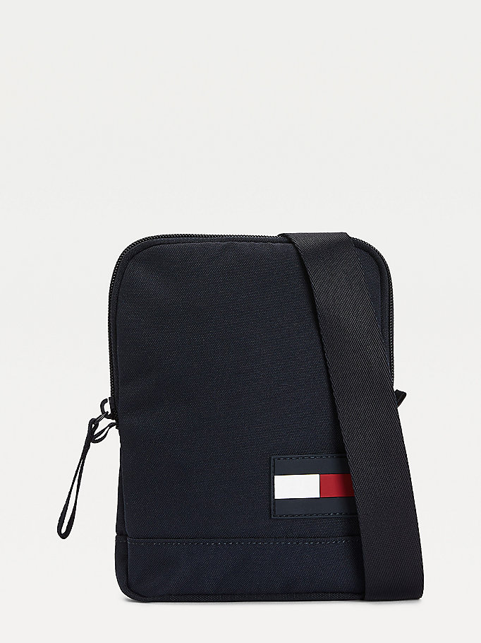 blue recycled polyester flag crossover bag for men tommy hilfiger
