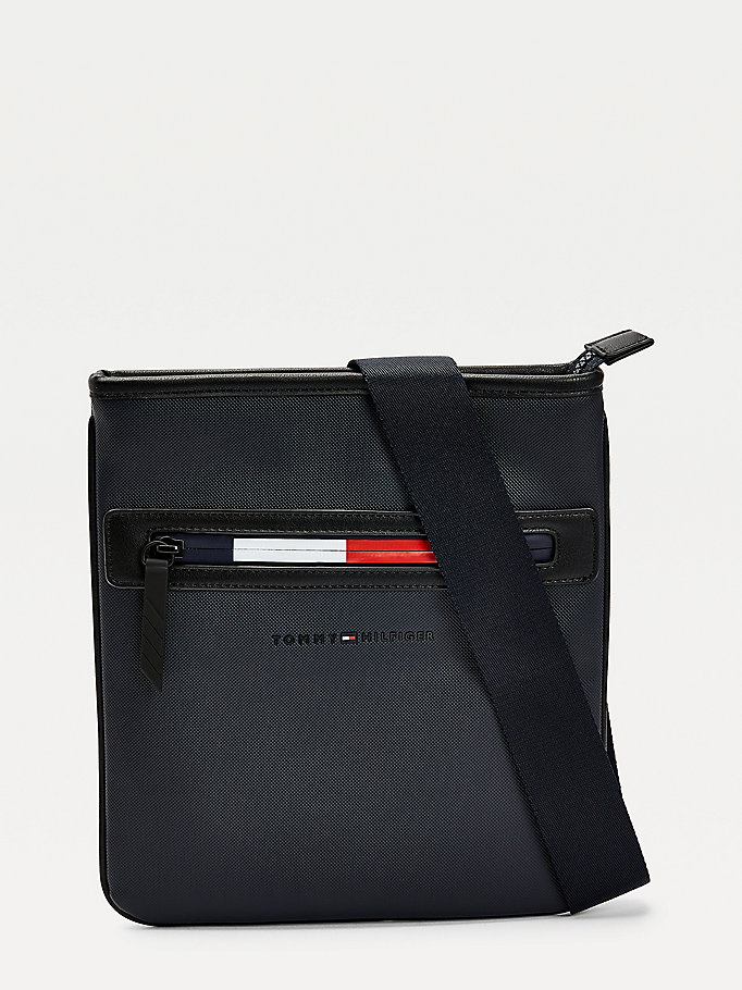 blue essential signature zip crossover bag for men tommy hilfiger