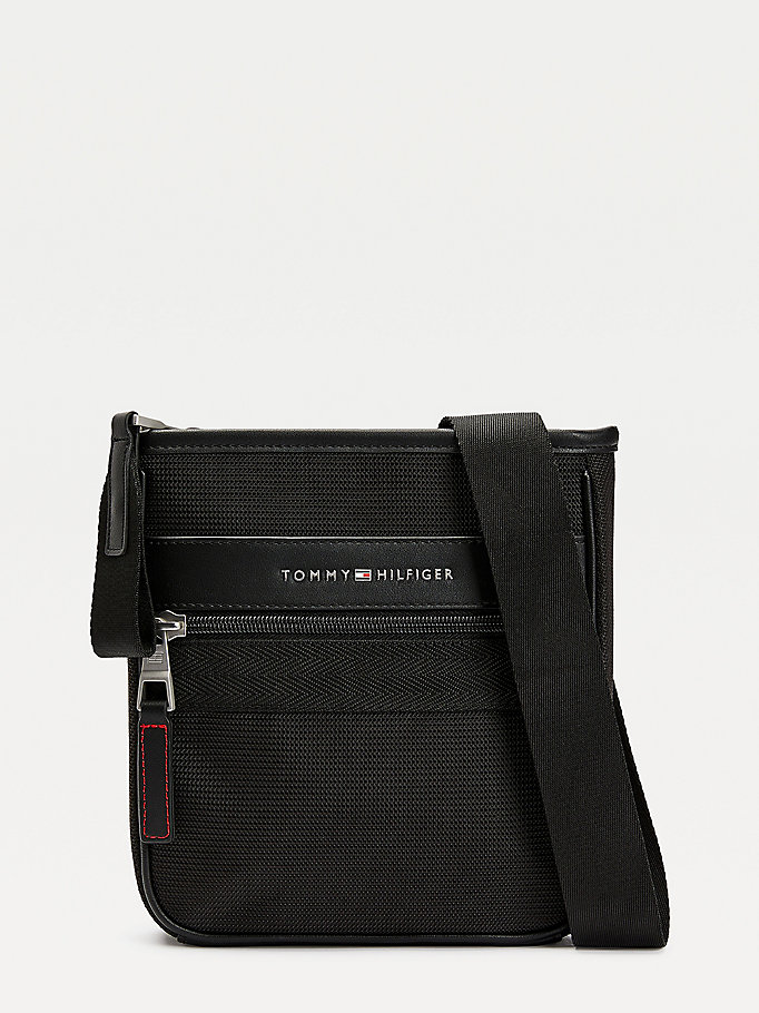 black small textured finish logo crossover bag for men tommy hilfiger