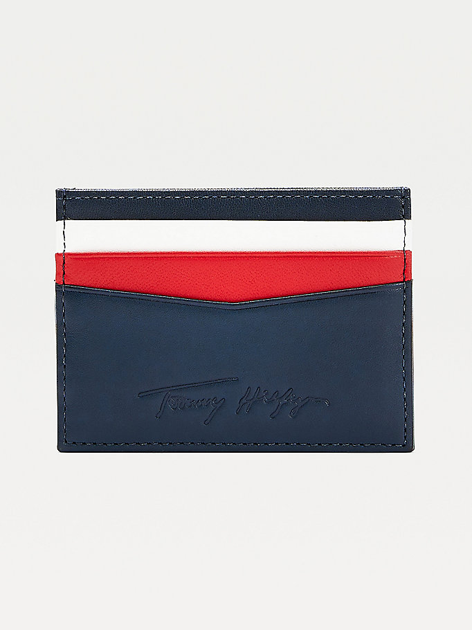 blue signature leather card holder for men tommy hilfiger