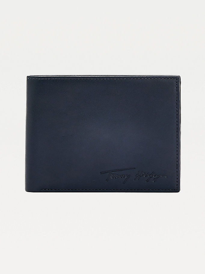 blue signature leather credit card wallet for men tommy hilfiger