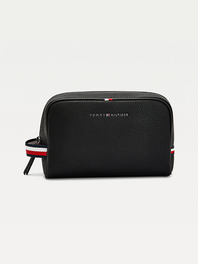 black essential pebble grain wash bag for men tommy hilfiger