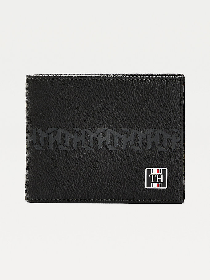 black small th monogram leather wallet for men tommy hilfiger