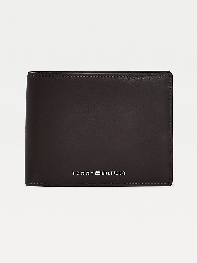 brown metro small leather recycled lining wallet for men tommy hilfiger