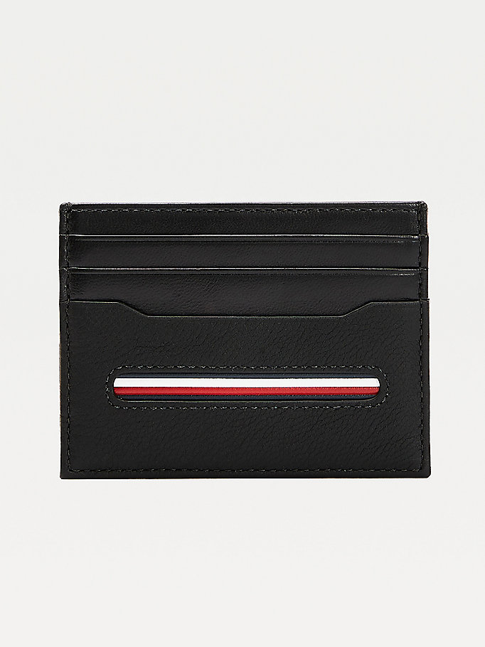 black downtown textured leather credit card holder for men tommy hilfiger