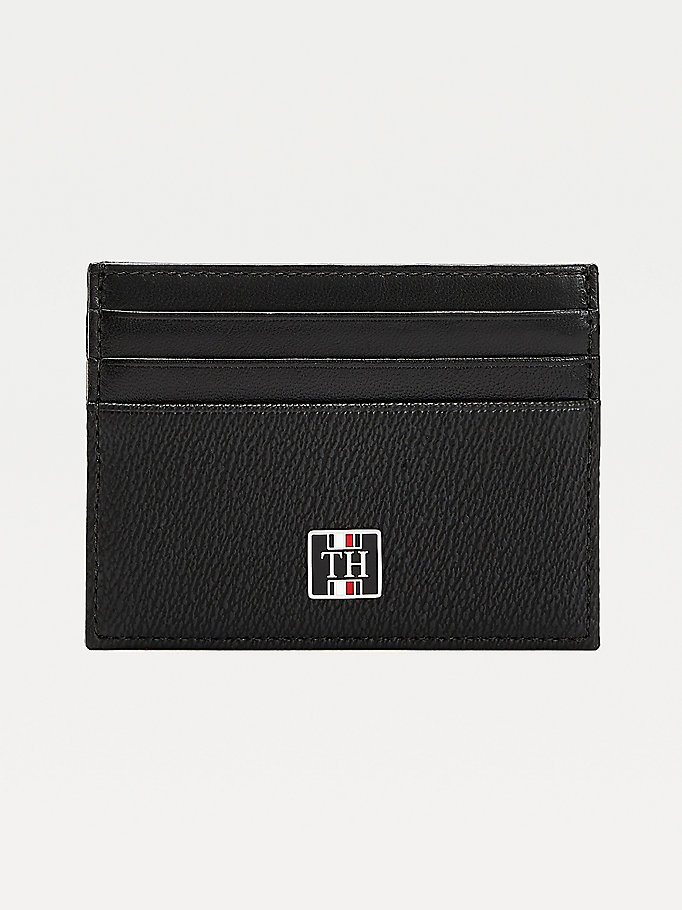 porte-cartes th monogram en cuir noir pour men tommy hilfiger