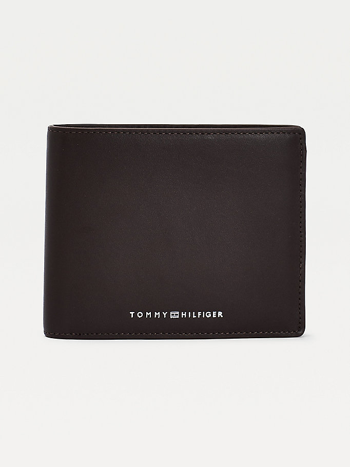 brown metro leather trifold wallet for men tommy hilfiger
