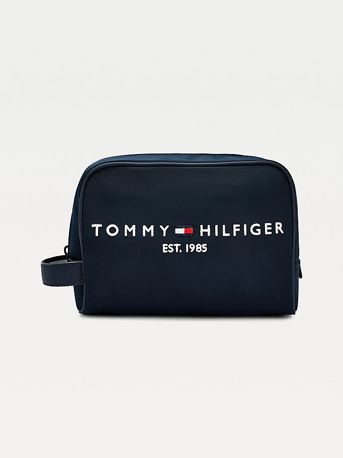blue th established logo wash bag for men tommy hilfiger