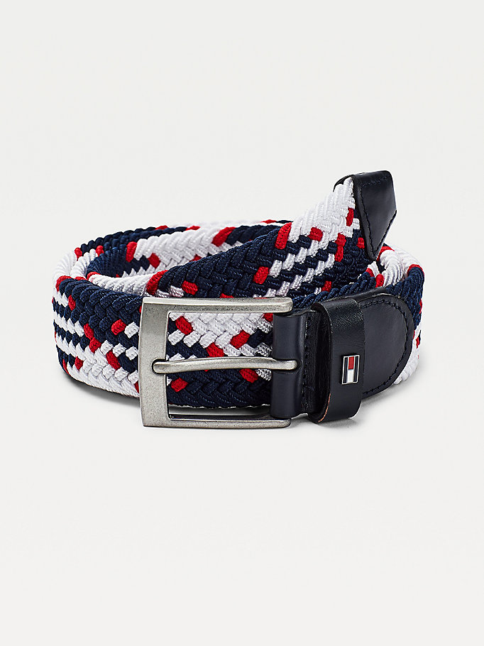 blue braided design elasticated belt for men tommy hilfiger