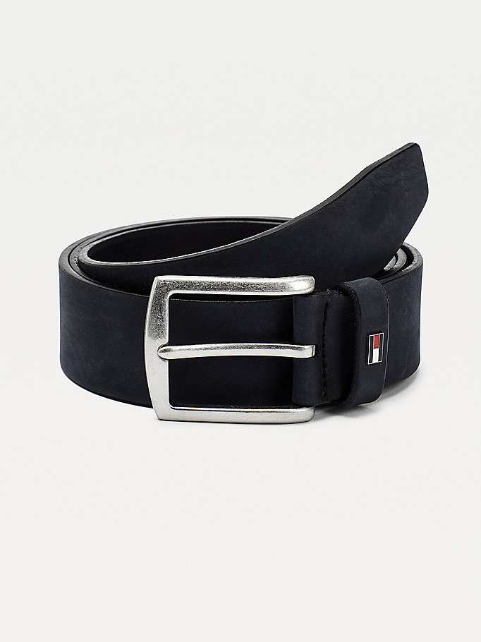 blue denton suede leather belt for men tommy hilfiger