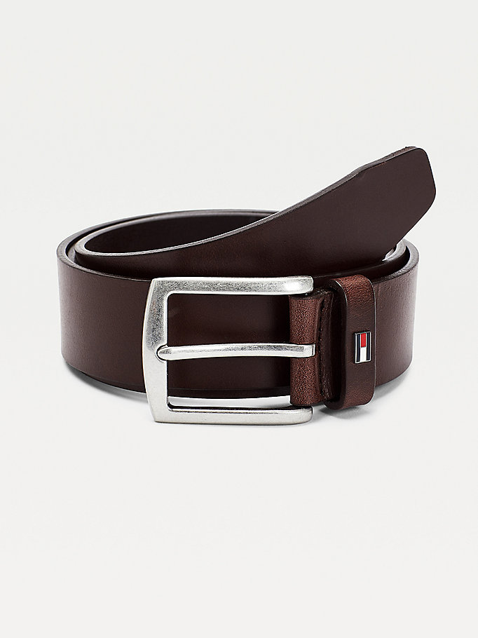 brown denton leather enamel flag belt for men tommy hilfiger