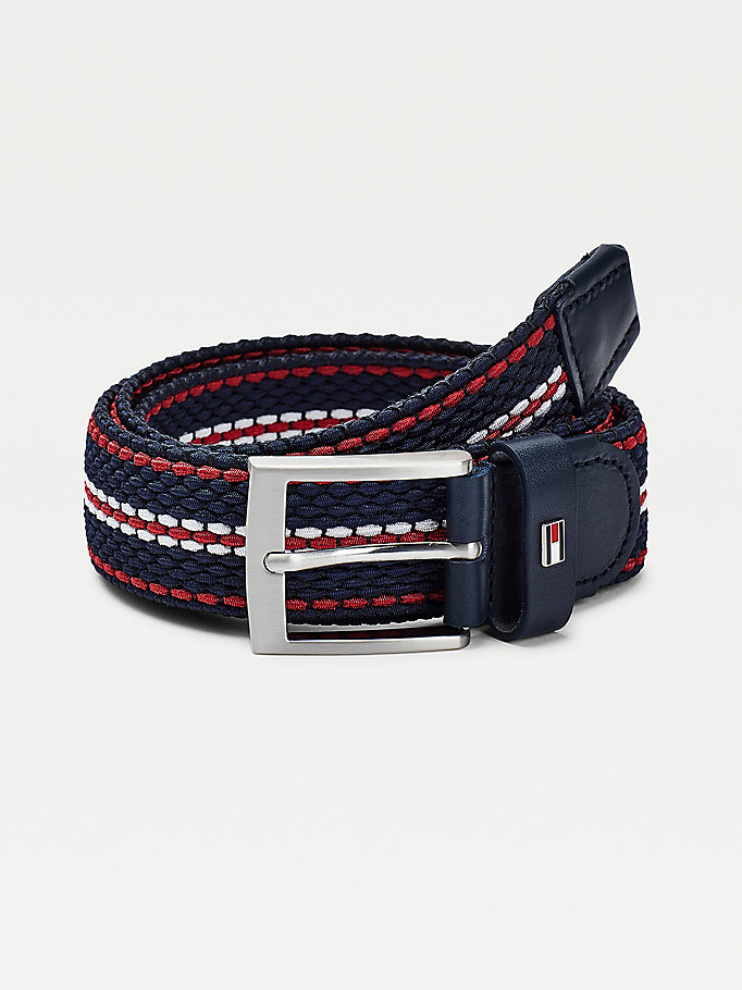 blue stretch braided design belt for men tommy hilfiger