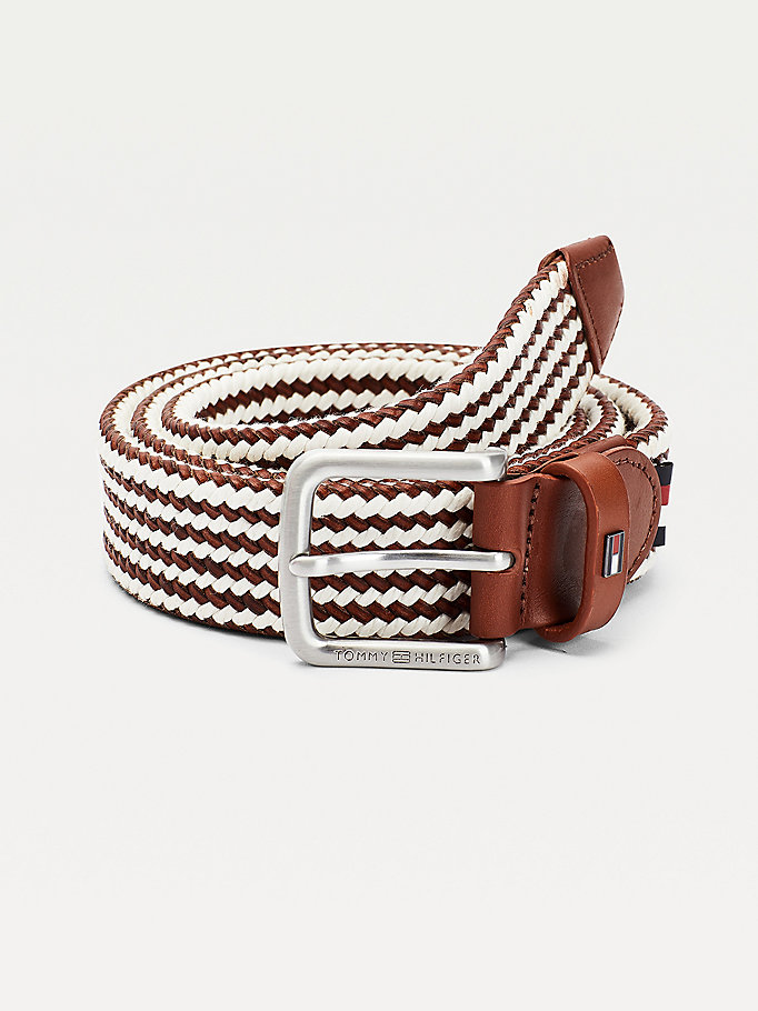 brown brushed buckle leather braided belt for men tommy hilfiger