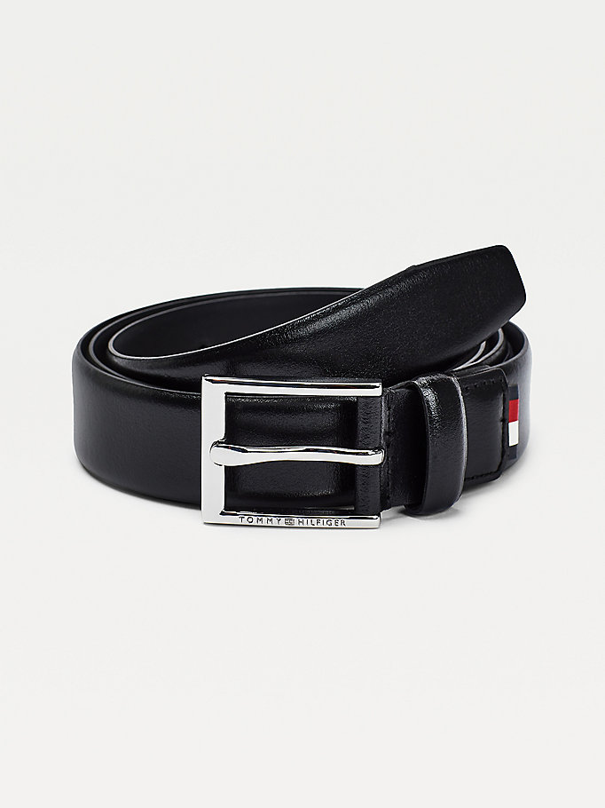 black slim leather belt for men tommy hilfiger