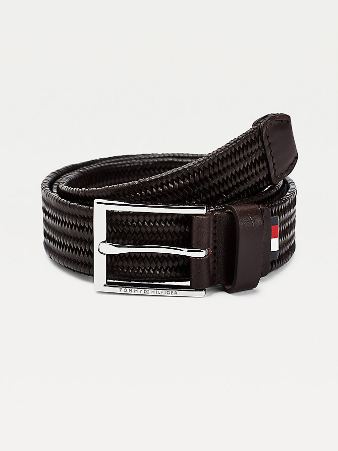 black stretch braided design leather belt for men tommy hilfiger