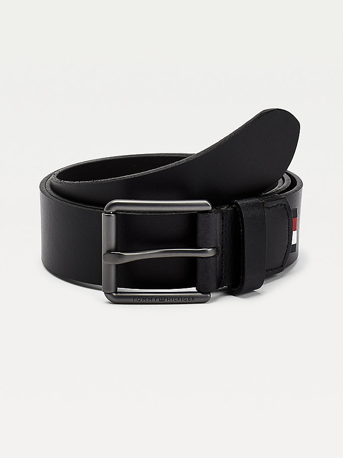 black logo engraved roller buckle leather belt for men tommy hilfiger