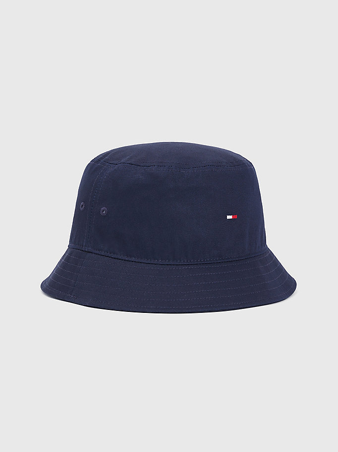 blue pure organic cotton flag bucket hat for men tommy hilfiger