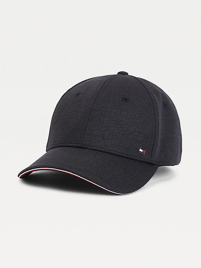 black stretch pique baseball cap for men tommy hilfiger