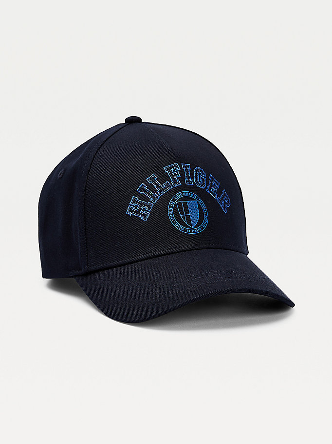 blue shield logo pure cotton baseball cap for men tommy hilfiger
