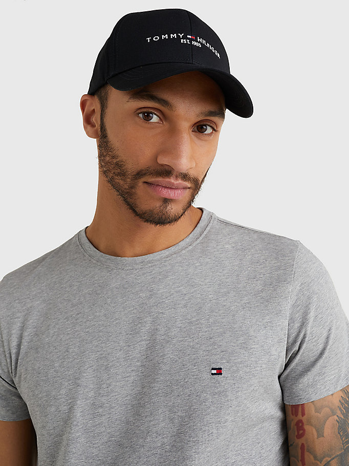 black th established 1985 logo cap for men tommy hilfiger