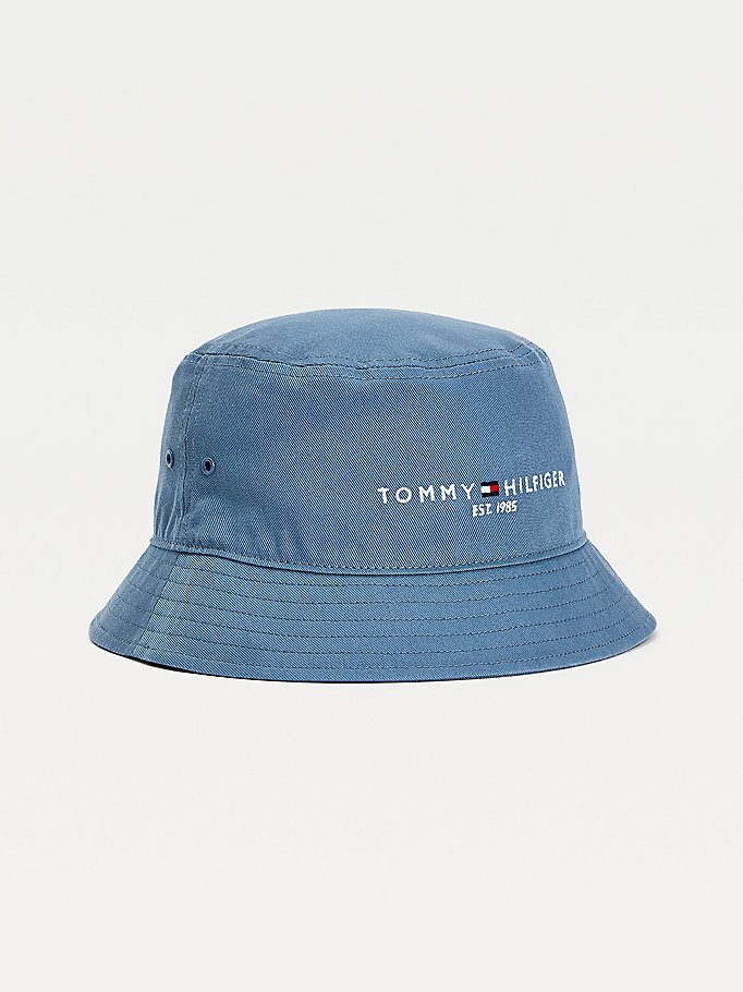 blue th established bucket hat for men tommy hilfiger
