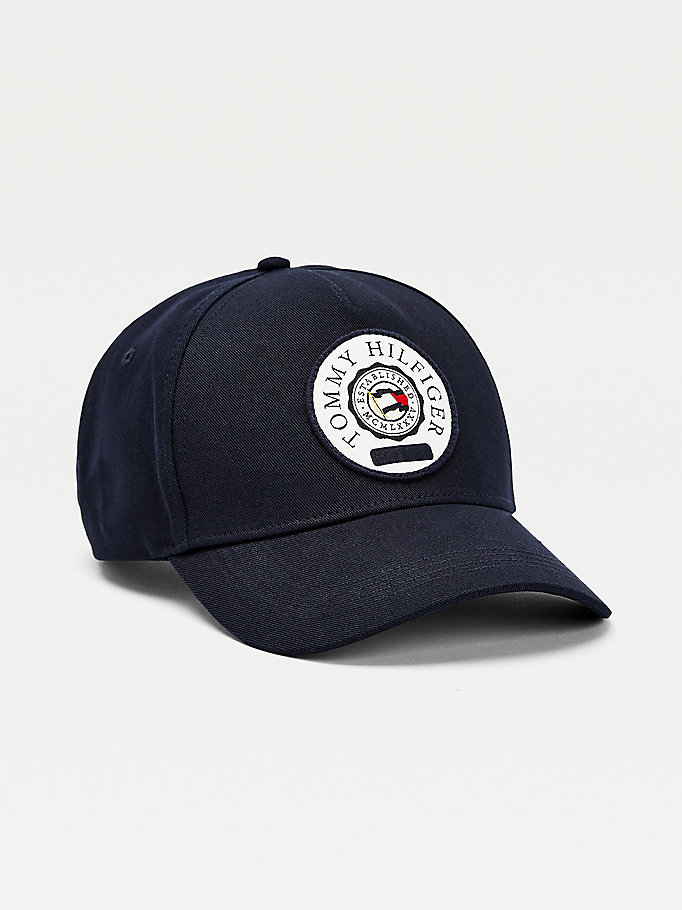 blue round patch cap for men tommy hilfiger