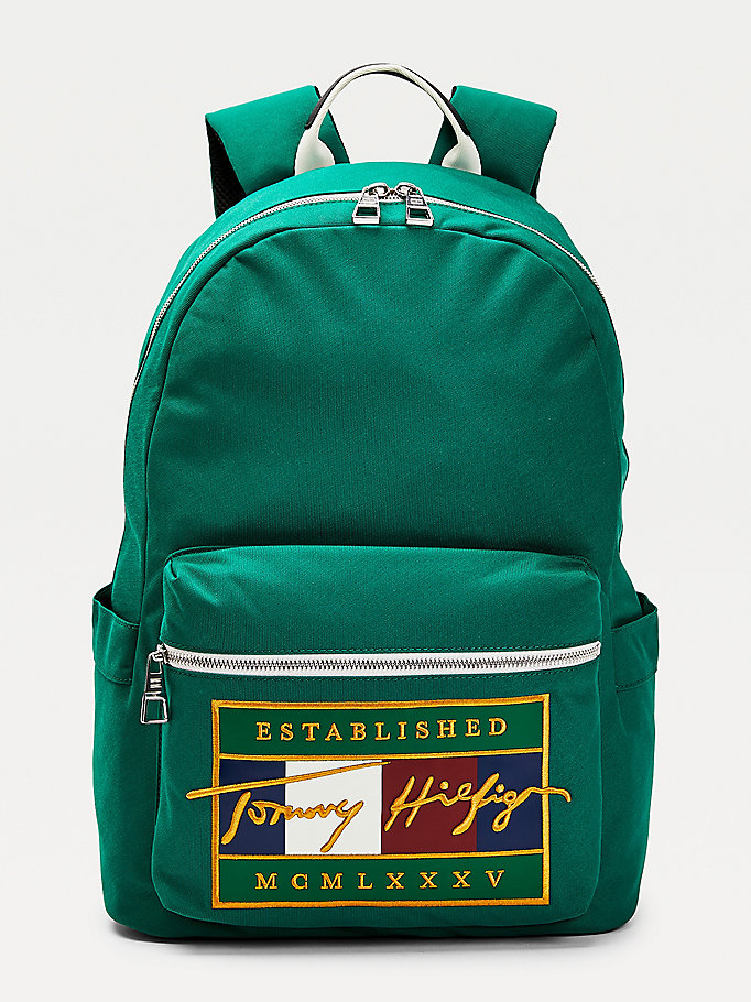green signature flag embroidery backpack for men tommy hilfiger