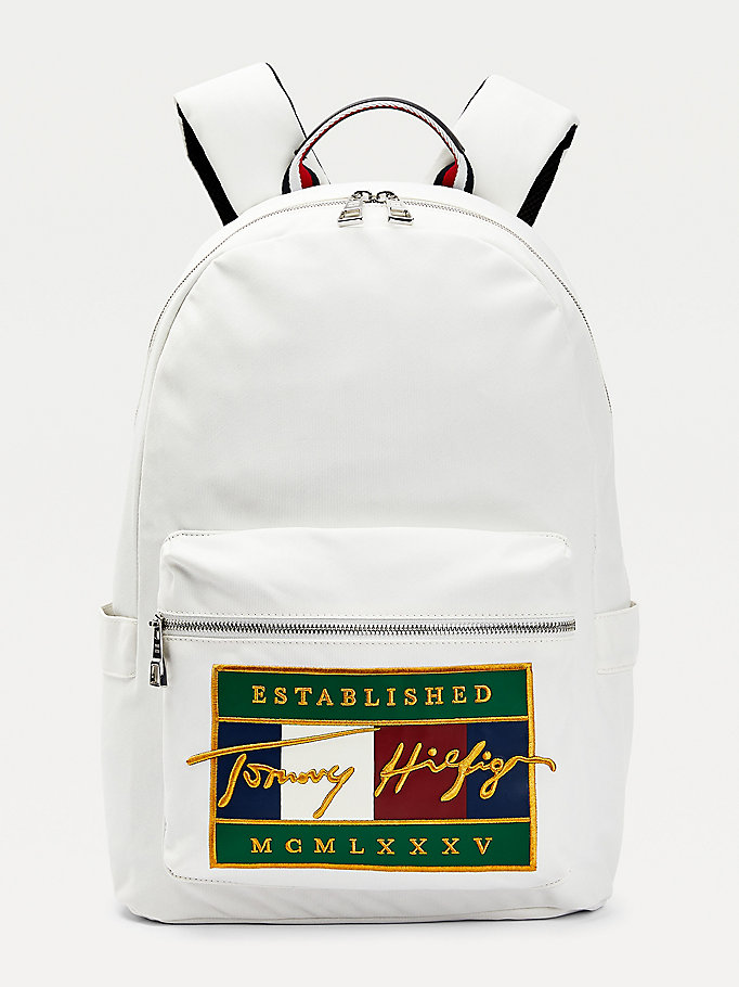 white signature flag embroidery backpack for men tommy hilfiger