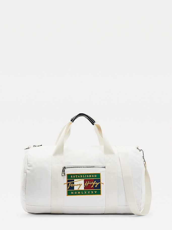 white signature flag embroidery duffle for men tommy hilfiger