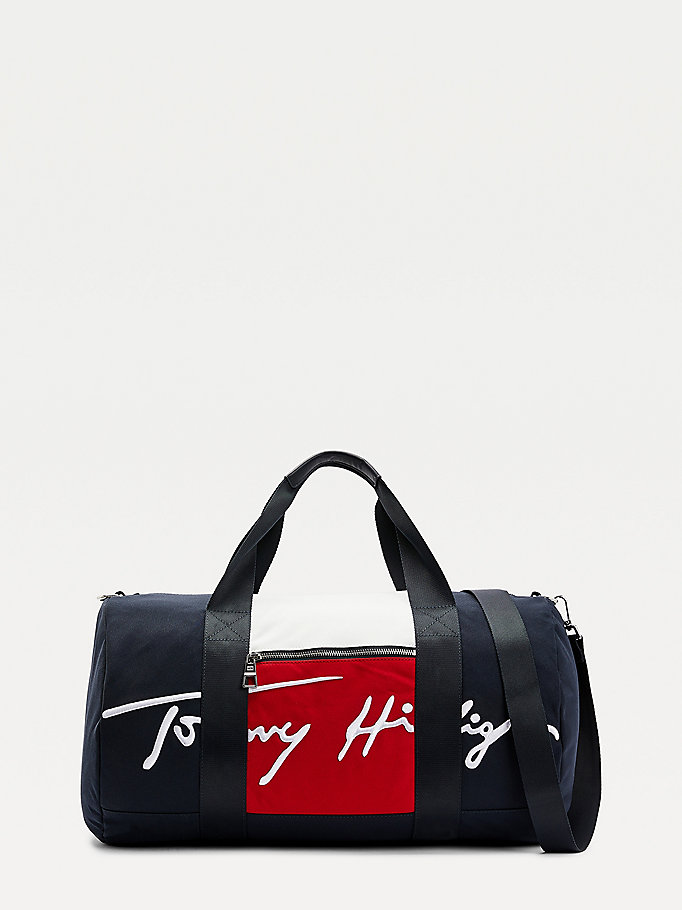 blue signature colour-blocked duffle for men tommy hilfiger