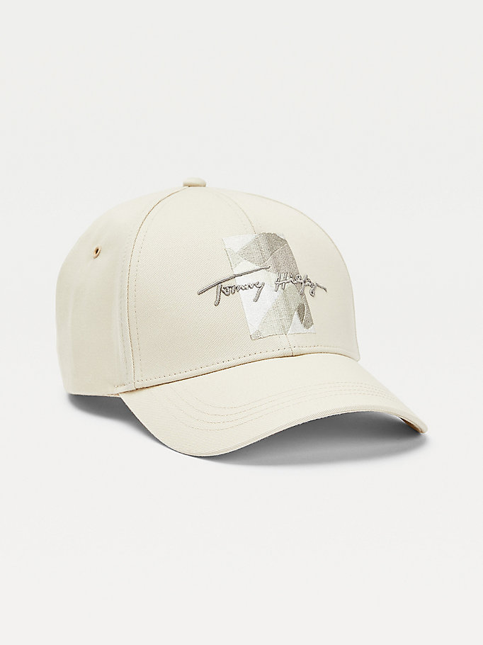beige th signature abstract embroidery cap for men tommy hilfiger