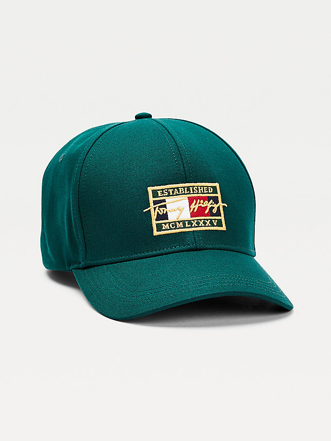 green th signature flag patch cap for men tommy hilfiger