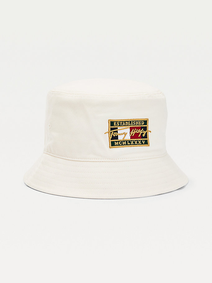 white th signature flag patch bucket hat for men tommy hilfiger
