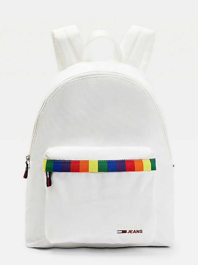 white campus pride dome backpack for men tommy jeans