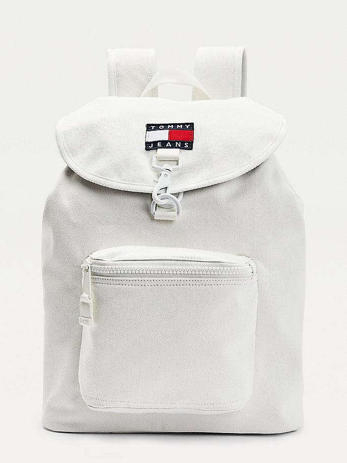 white drawstring tommy badge backpack for men tommy jeans