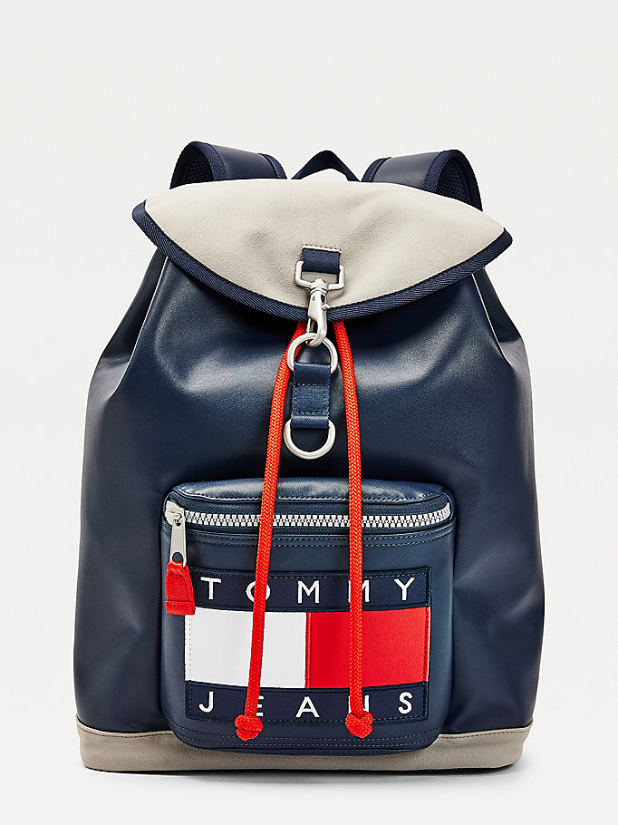 blue heritage flap leather backpack for men tommy jeans