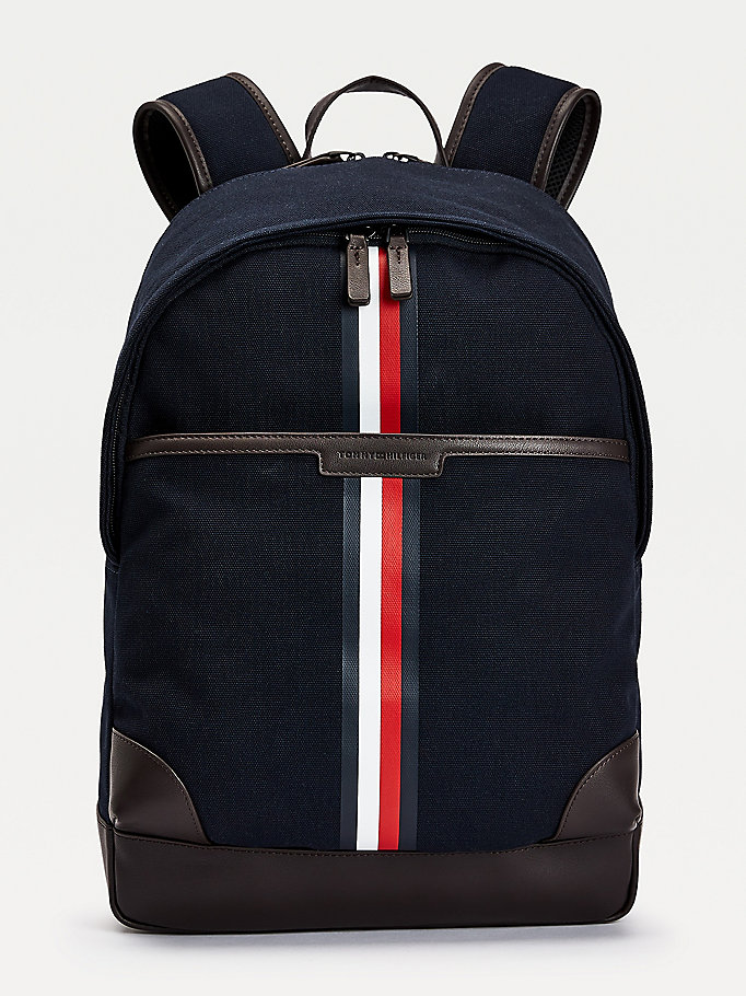 blue canvas tape backpack for men tommy hilfiger