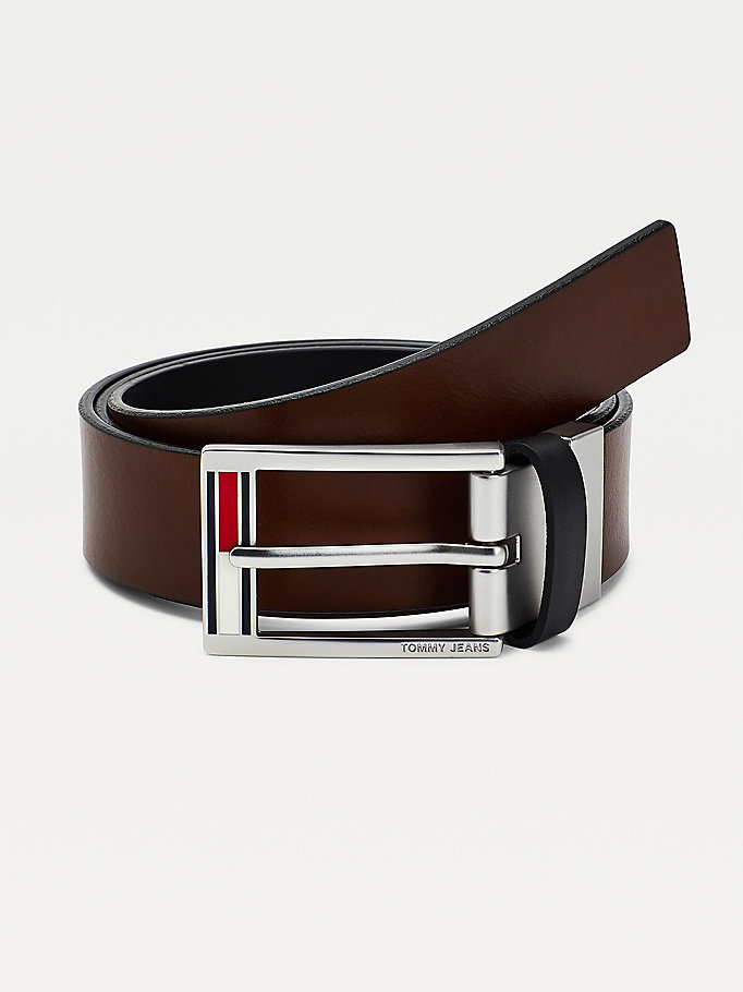 black flag enamel reversible leather belt for men tommy jeans