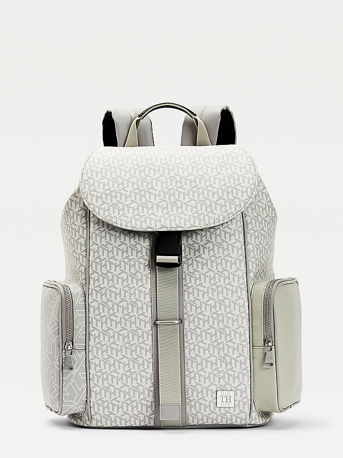beige monogram print backpack for men tommy hilfiger
