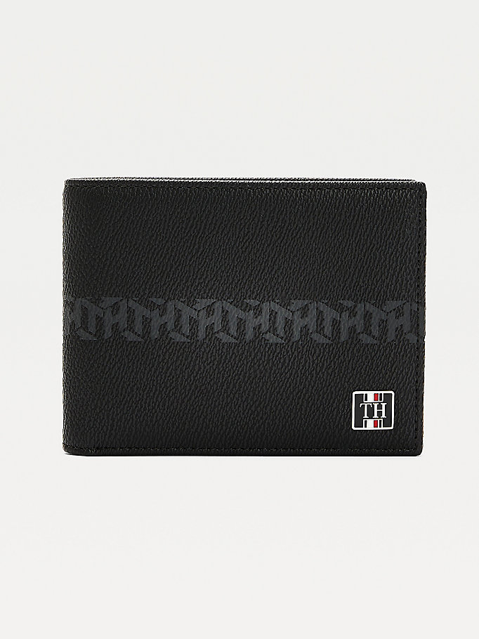 black th monogram leather credit card wallet for men tommy hilfiger