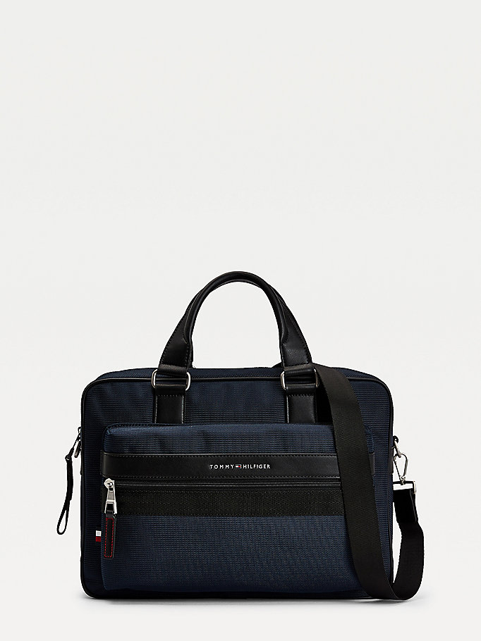 blue metal logo computer bag for men tommy hilfiger