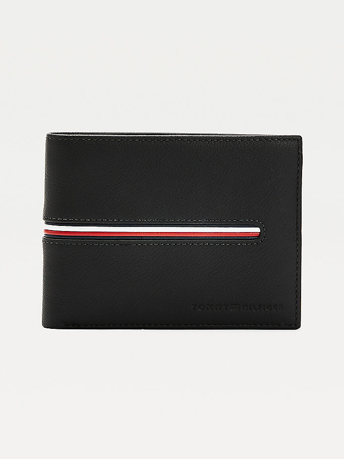 black downtown signature detail leather wallet for men tommy hilfiger