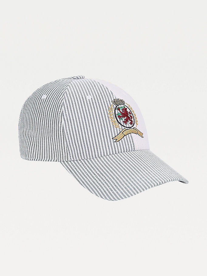yellow crest embroidery ithaca stripe cap for men tommy hilfiger