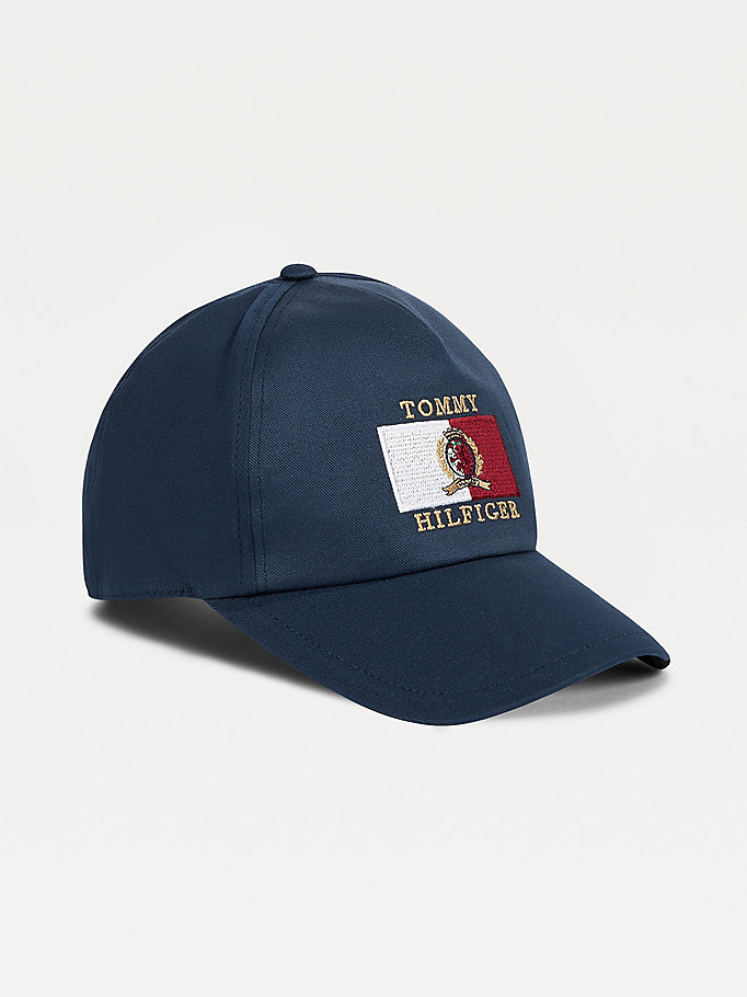 blue crest and logo embroidery cap for men tommy hilfiger