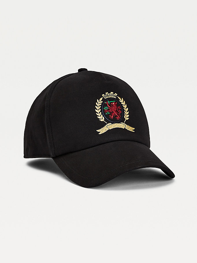 black th collection crest embroidery cap for men tommy hilfiger