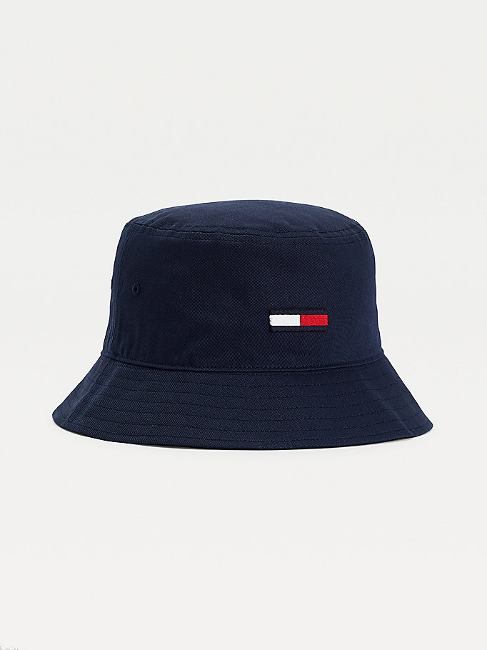 blue flag embroidery cotton bucket hat for men tommy jeans