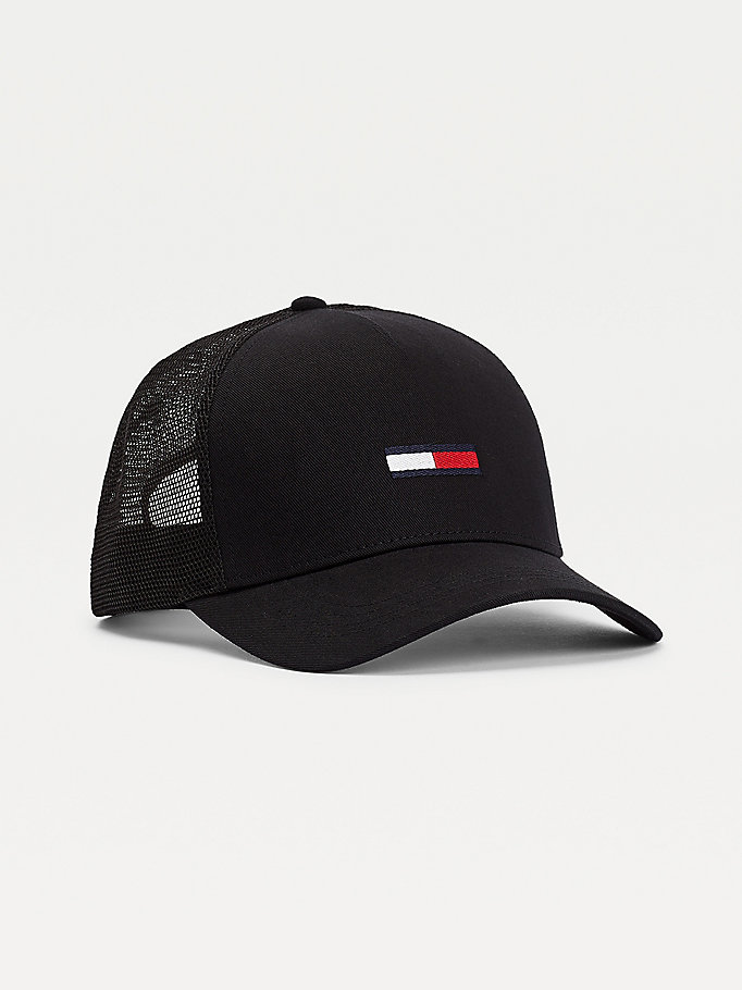 black mesh back trucker cap for men tommy jeans